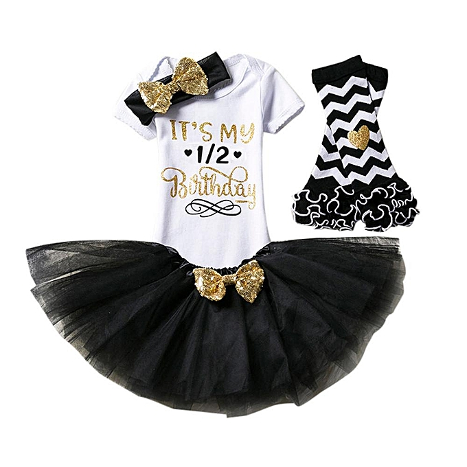 de1226373c84 Fashion 4Pcs Baby Girl Birthday Party Outfits Clothes Romper+ Skirt ...