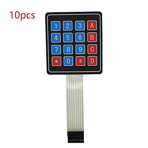10pcs 16 Key 4x4 Membrane Switch Keypad 4 * Matrix Array