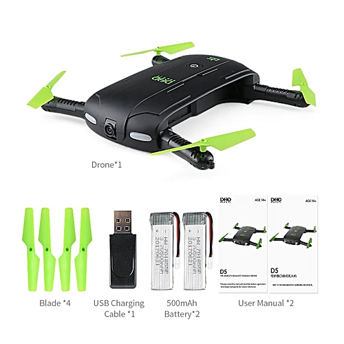 OR DHD D5 Foldable Selfie Drone RC Quadcopter With Wifi FPV Camera 2 Battery RTF-Black