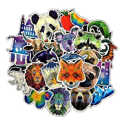 35 Pieces/Set Eleganya Cute Cartoon Animal Pattern Fine Shiny Car Stickers