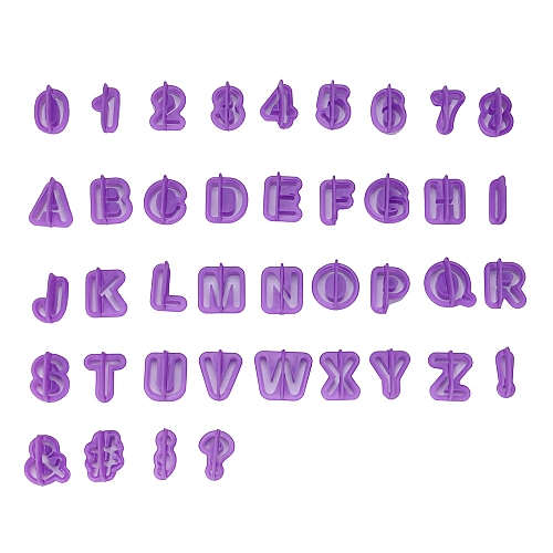 40pcs/Set Icing Cutter Mold Mould Alphabet Number Letter Fondant Cake Decorating- Purple