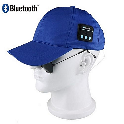 2f9f9d35794 Generic Classy Leisure Bluetooth Smart Cap Wireless Headset Headphone  Speaker Mic Talking Baseball-Blue