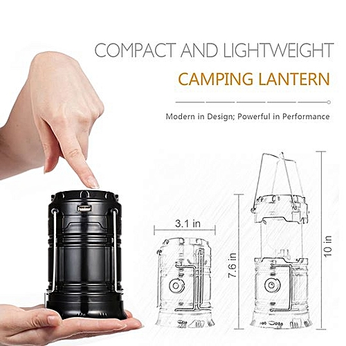 Rechargeable And Collapsible Solar Lantern + Flashlight