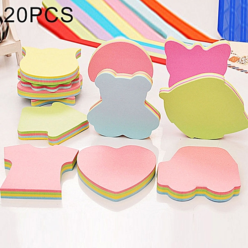 Generic 20 PCS 100 Pages Multicolor Sticky Notes Cute Memo Pads Sticker, Random Style Delivery