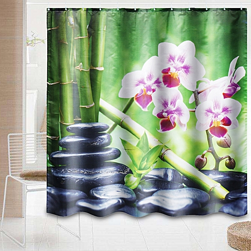 New Modern Bamboo Pebble Bathroom Shower Curtain Extra Long Hooks Toilet Rug Mat
