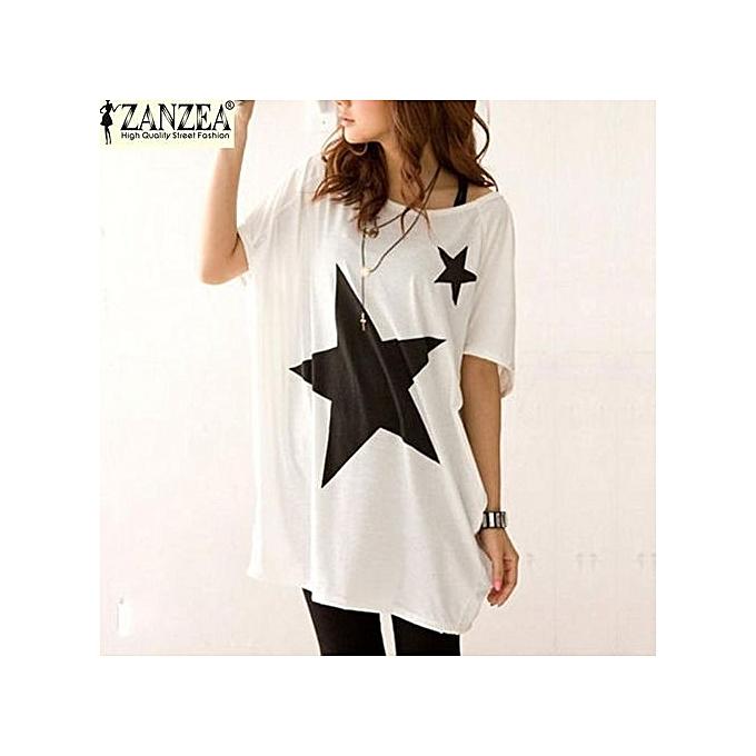 a949a311 ZANZEA Summer Blusas Women Blouse Casual Loose Long Tops Batwing Short  Sleeve Star Print Tees T