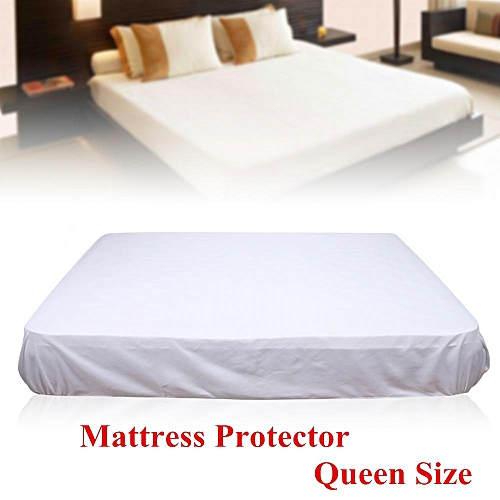 Queen Size Mattress Protector Polyester Soft Comfortable Mattress Cover Household Bedroom Use Pure White