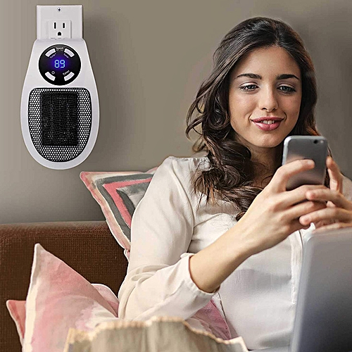 EY - 2028 Small Wireless Remote Control Portable 500W Straight Plug-in Air Heater UK Plug - White