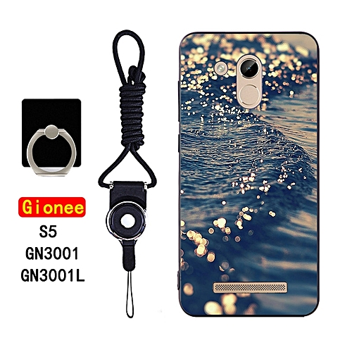 Gionee S5 Gionee GN3001/GN3001L Soft Silicone Phone Case Painted Fitted Protective Back Cover With Rope & Finger Ring