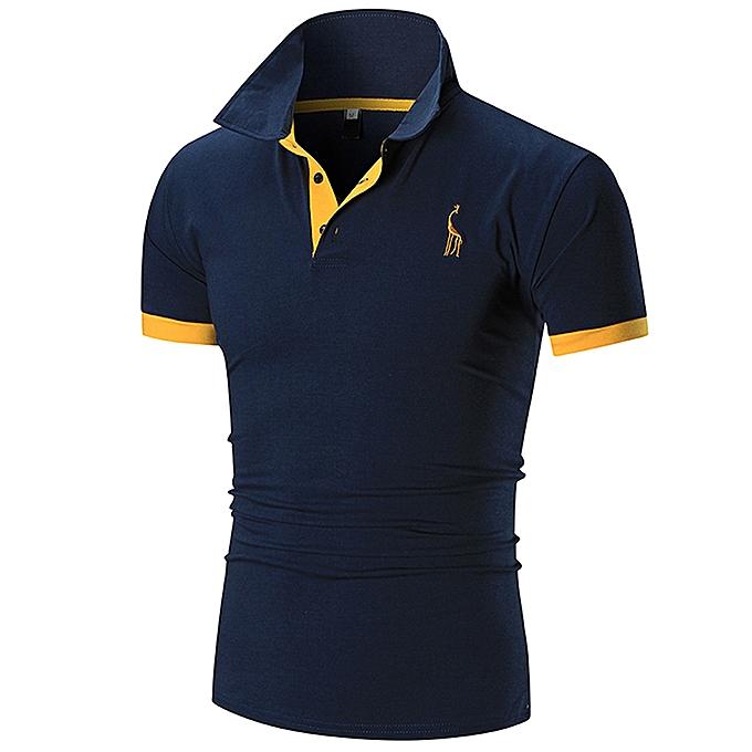 91091278 Fashion Men Polo Tshirt T-shirts Casual Cotton Short (Navy Blue ...