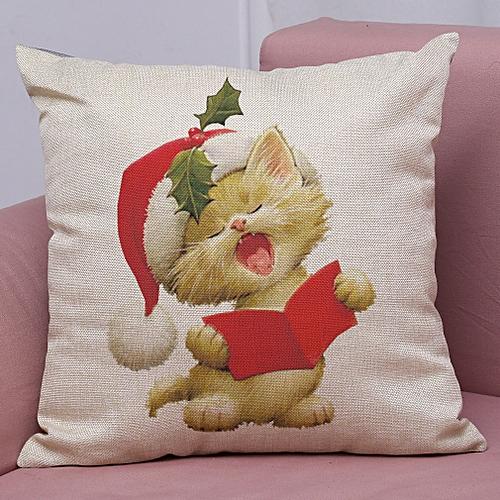 Xiuxingzi_Dtrestocy New Christmas Cotton Linen Pillow Case Sofa Cushion Cover Home Decor