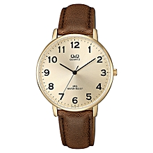 Gents Smart Casual Leather Strap Watch QZ00J103Y - Rose Gold