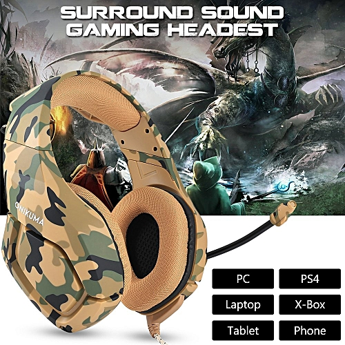 Gaming Headset For PS4 New Xbox One PC Mac, ONIKUMA Over Ear 3.5mm Headphones With Mic Noise Isolating Deep Bass Surround For Game