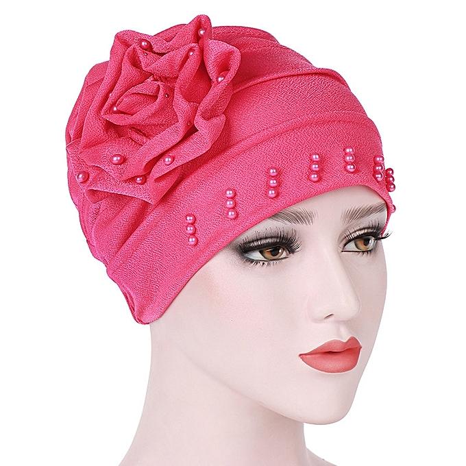 30af8d0cf31 Zetenis Women Beading India Hat Muslim Ruffle Cancer Chemo Beanie Scarf Turban  Wrap Cap-Hot