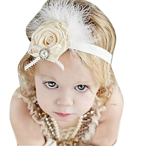 Braveayong Baby Kids Feather Diamond Pearl Flower Lace Ribbon Hair Accessories -As Shown