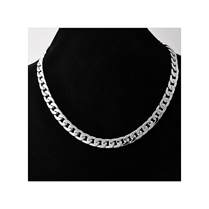 Fashion Stainless Steel Men s Cuban Thick Silver Chain  4d45a159e