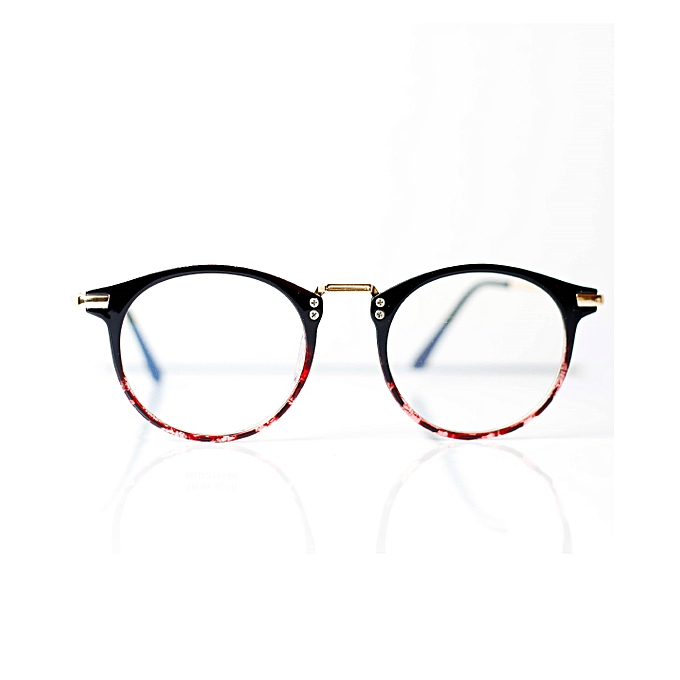 8f7041e33 Retro Geek Vintage Nerd Frame Fashion Round Clear Lens Glasses With Case -  Black/red