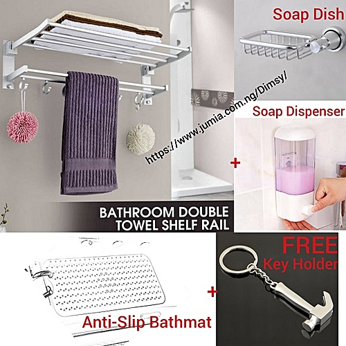 Kitchen Bathroom Towel Hanger With Rail Shelf Rack