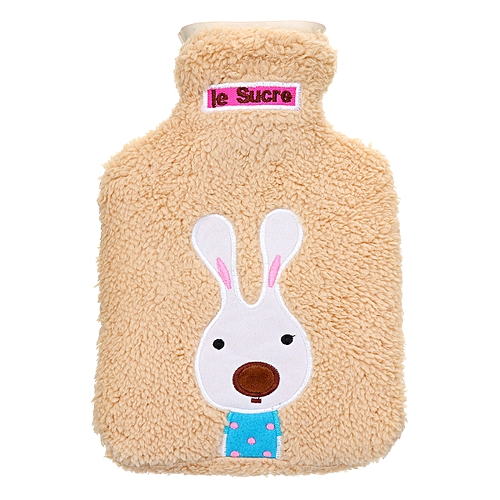 28cm*18cm Cartoon Rabbit Hot Water Bottle Cover Explosion-proof Plush Rubber Warm Water Bag Removable Washable Hot Water Bottle