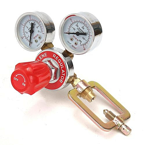 Argon CO2 Pressure Reducer Mig Flow Control Valve Dual Gauge Welding Regulator Red