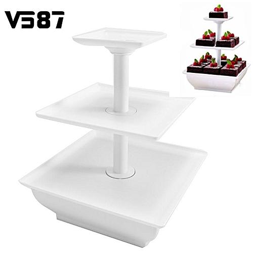3 Tier Squar Wedding Cake Stand Cupcake Tower Dessert Stable Food Display Holder
