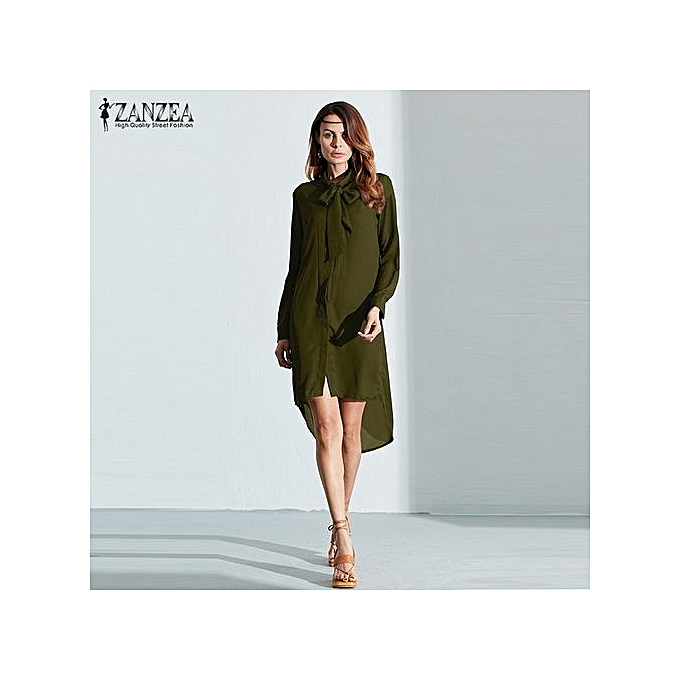 28dc079d497a ZANZEA Blusas Women Shirt Dress Long Sleeve Casual Amsymetircal Chiffon  Blouses Tops (Army Green)