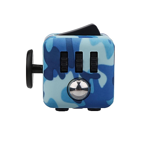 1Pc Fidget Puzzle Cube Stress Anxiety Relieve Hand Toy For Kids Adults (Camouflage Blue&Black)