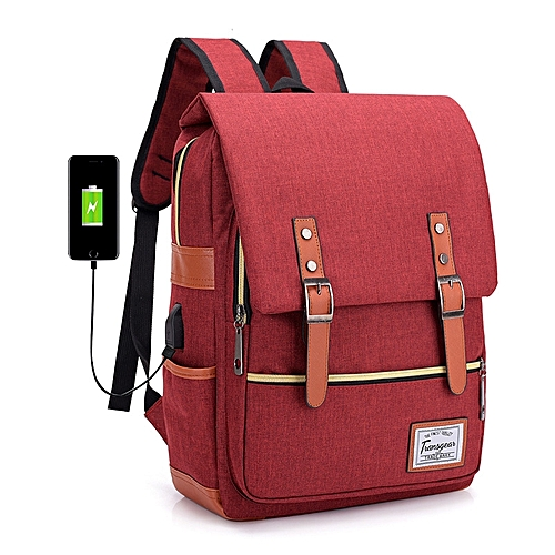 2019 Stylish Unisex Anti Theft Bag & Laptop Bag Water Repellant With USB Charging Port - Multipurpose- Red