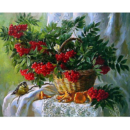 DIY 5D Diamond Embroidery Painting Cross Stitch Kit Flower Animal Home Decor Red Flower Basket Berries