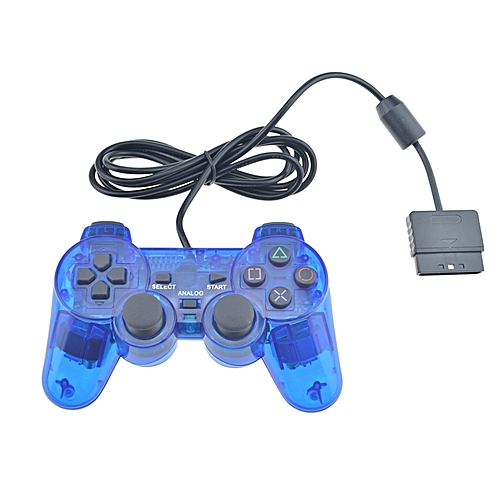 Wired Connection Gamepad Double Vibration Game Controller For PS2 Color:Blue