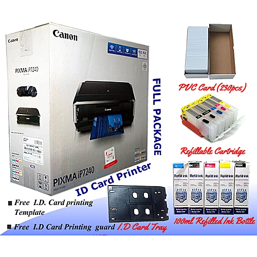 CANON Pixma IP7240 Plastic ID Card Low Cost Printer - Full Package