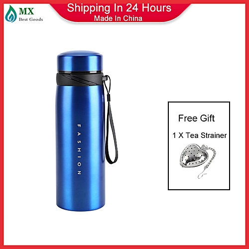 [buy 1 Get 1 Tea Strainer]1Pc 900ml Stainless Steel Water Thermos Cup Tea Coffee Travel Drink Bottle (Blue)