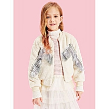 afea3ff41e0d Girls Zip Up Fringe Trim Fleece Jacket - White