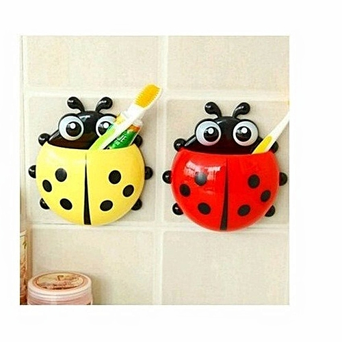 Wall Attachable Ladybug Toothbrush And Toothpaste Holder - Set Of 2