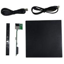 Portable USB 2.0 DVD CD DVD-Rom SATA External Case Slim For Laptop Notebook