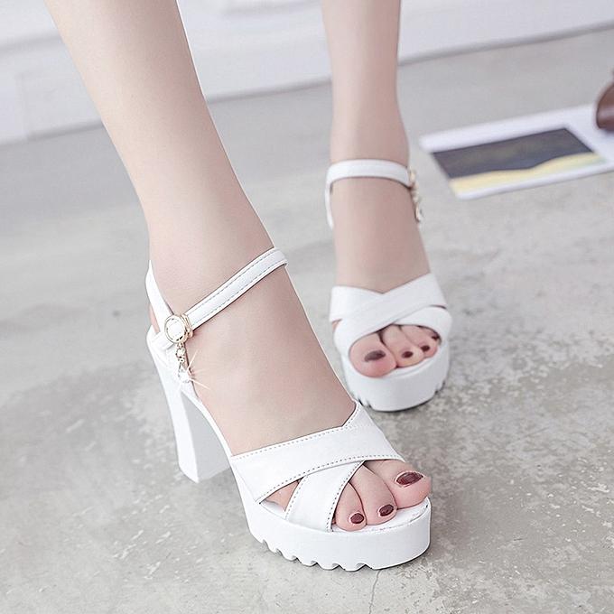92a6d03c9d4 Blicool Shoes Women Fish Mouth Platform High Heels Wedge Sandals Buckle  Slope Sandals#White