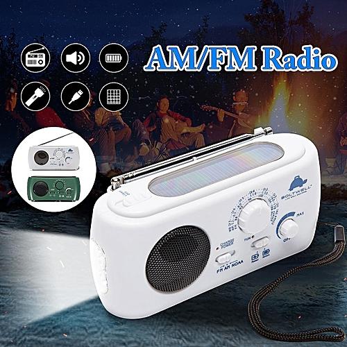 322314182351 White Portable Solar Crank AM/FM Weather Radio With Flashlight