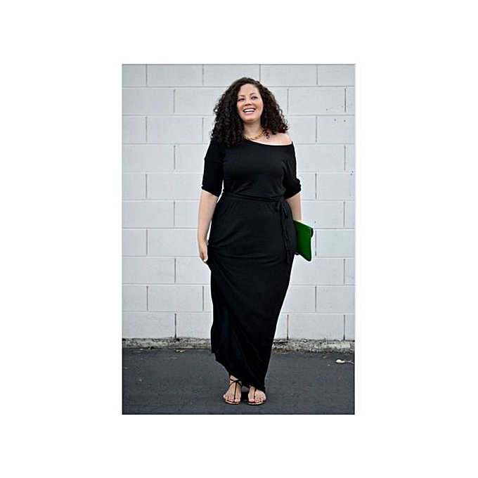 fa94c282 Dresses For Ladies Big Size Dress O-neck Slimming Elegant Casual Dress-black  Multipurpose