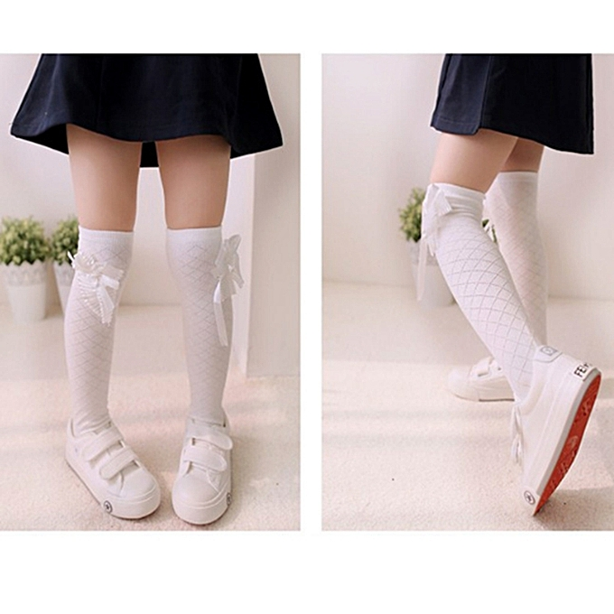 e3dfe69c2 ... Girls Socks Kids Tube Thigh Socks Baby Crochet Knee High Socks -White  ...
