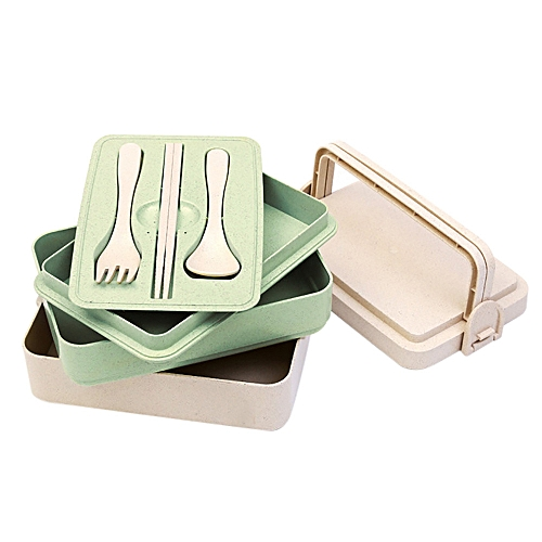 Lunch Box Food Container Portable Wheat Straw Bento Chopstick Fork Spoon