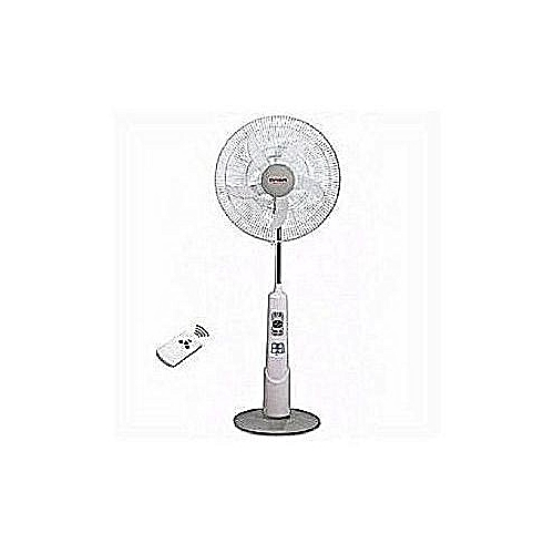 """18"""" Rechargeable Standing Fan + Remote + LED Light + USB Port"""