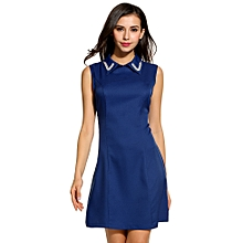 cd9880230f Women Fashion Doll False Pearl Collar Sleeveless A-Line Solid Slim Mini  Dress-Blue