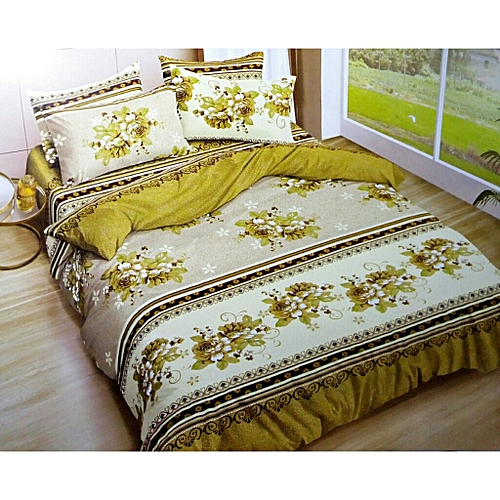 COLORFUL FLOWERED BEDSHEETS- CREAM &BROWN
