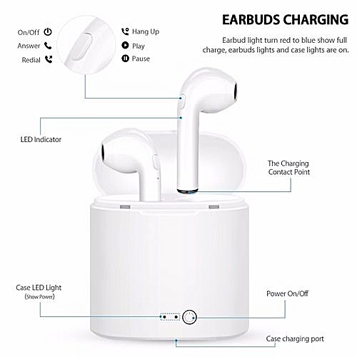 I7s Twins Bluetooth Earphone With Charging Station - White