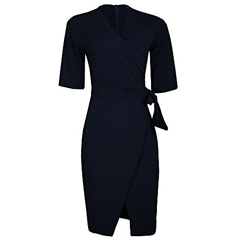 Side Tie Wrap Dress - Navy Blue
