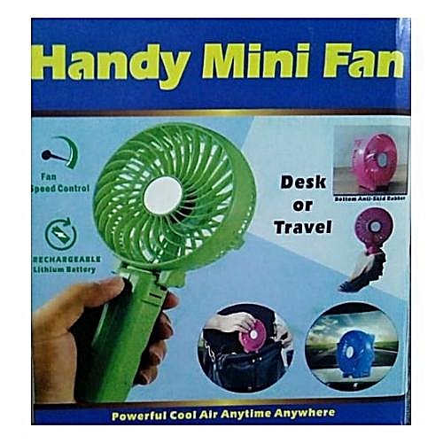 With FREE POWER BANK - Portable Handheld Foldable Mini USB Fan Battery Operated Desktop Cooling Fan - Any Color