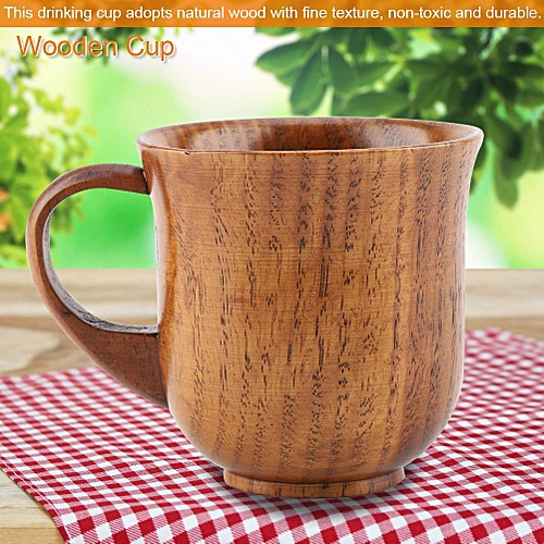 Portable Natural Wood Cup With Handle Wooden Teacup Coffee Beer Juice Drinking Mug (#2)