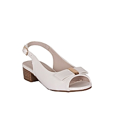 977b0df7db487c Girls Low Heel Sling Back Peep-Toe Patent Sandals -White