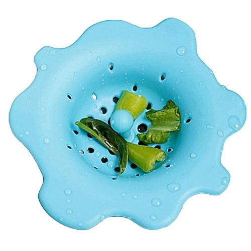 Bodhi@Cute Flower Shape Sink Strainer Waste Disposer Plug Drain Stopper Kitchen Tool-Blue