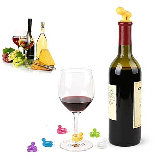 Creative Small Drunkard Wine Bottle Stopper Six Wine Glass Cup Marker Silicone Wine Cap